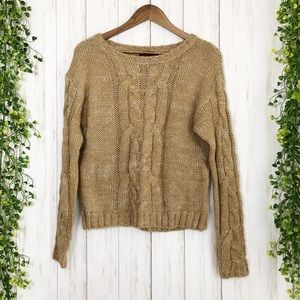 NWT beige / brown cable knit sweater medium